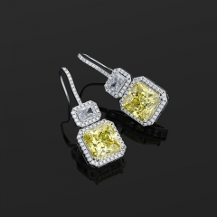 New Square Yellow Diamond Zircon Earrings