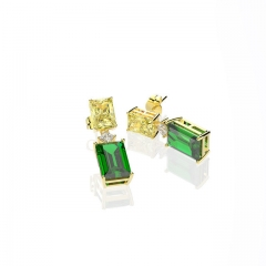 Euramerican emerald Square Earrings