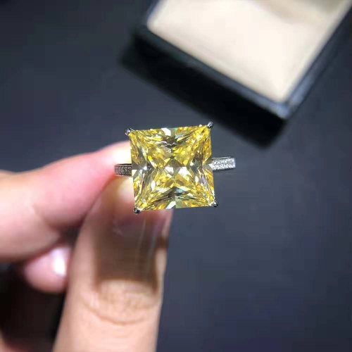 S925 Silver Simple Square Zircon Ring