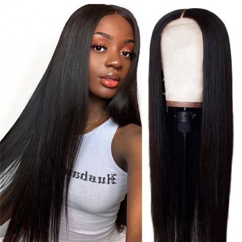 QueenWeaveHair 300% Density Long Straight Black Lace Front Wig