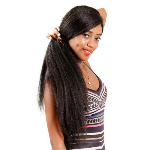 QueenWeaveHair 300% Density Kinky Straight Lace Front Wig Human Hair