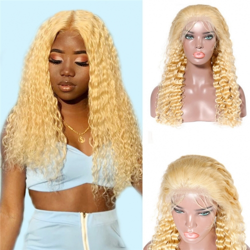 QueenWeaveHair Deep Curly Human Hair Honey Butter Blonde Lace Front Wig With Baby Hair