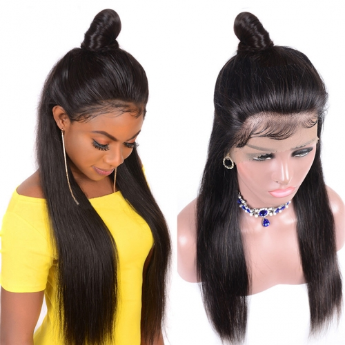 QueenWeaveHair Straight Pre Plucked 360 Lace Wig Human Hair With Baby Hair