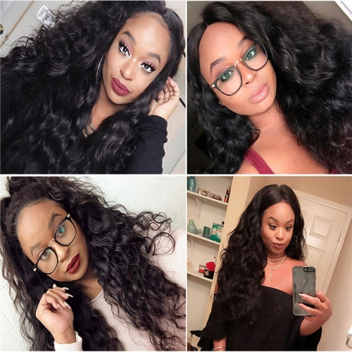 QueenWeaveHair Pre Plucked Wet And Wavy 360 Lace Wig Human Hair