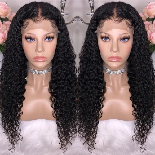 QueenWeaveHair Deep Curly Pre Plucked 360 Lace Wig Human Hair With Baby Hair