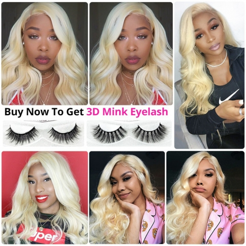 QueenWeaveHair #613 Color Body Wave Honey Blonde Pre Plucked 360 Lace Wig Human Hair