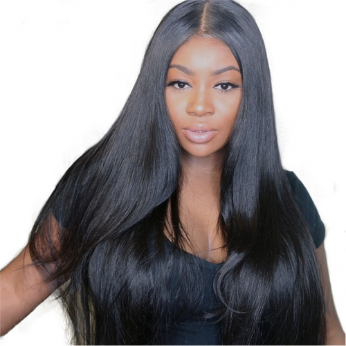 QueenWeaveHair Straight HD Lace Transparent Full Lace Human Hair Wigs With Baby Hair