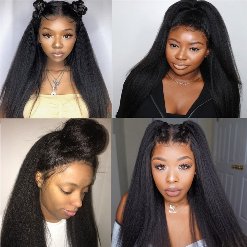 QueenWeaveHair Human Hair Hd Lace Kinky Straight Wigs With Baby Hair