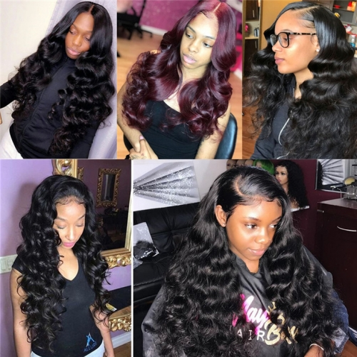 QueenWeaveHair Brazilian Virgin Loose Wave Full Lace Wig Human Hair Wig