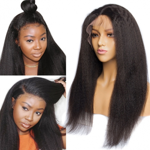 QueenWeaveHair Yaki Kinky Straight Human Hair Wigs Lace Front  Sew In