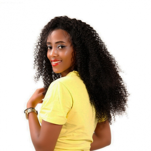 QueenWeaveHair Short Kinky Curly Human Hair Wigs On Dark Skin