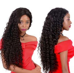 QueenWeaveHair Deep Wave Human Hair Curly 360 Lace Frontal