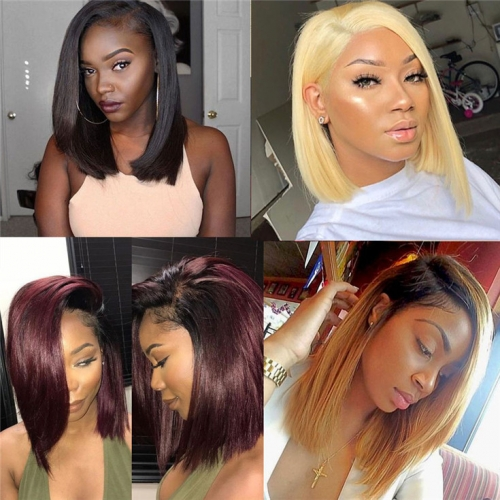 QueenWeaveHair Bob Wigs Lace Front Human Hair Wig With Middle Part