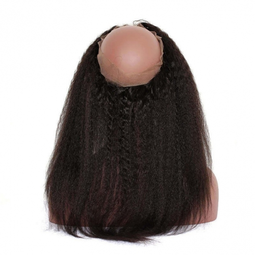QueenWeaveHair Natural Hairstyle Yaki Kinky Straight Virgin Human Hair 360 Lace Frontal
