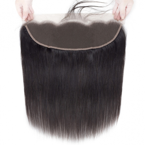 QueenWeaveHair Transparent Lace Straight Human Hair Frontal With Baby Hair