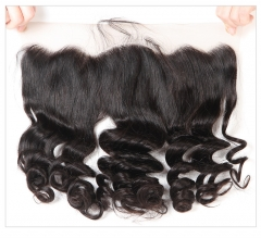 QueenWeaveHair Loose Wave Natural Black Human Hair Lace Frontal For Black Women