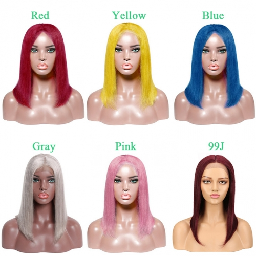 QueenWeaveHair Single Color Colored Bob Wigs Human Hair With Middle Part