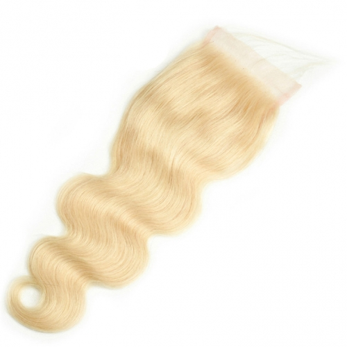 QueenWeaveHair Body Wave Honey Blonde Human Hair Lace Closure HD Film Lace