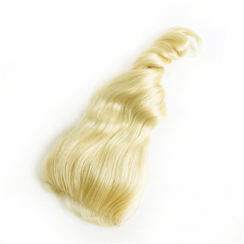 QueenWeaveHair Loose Wave Blonde Color Human Hair Closure For Dark Skin