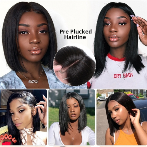 QueenWeaveHair Pre Plucked Straight Human Hair Bob Wigs For African American