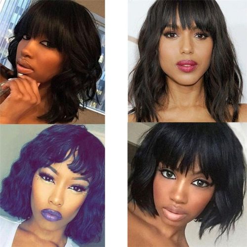 QueenWeaveHair Pre Plucked Short Wet And Wavy Bob Wigs With Bangs