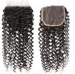 QueenWeaveHair Natural Black Color 4x4 Inch Afro Kinky Curly Lace Closure