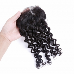 QueenWeaveHair Human Hair Deep Wave Lace Closure With Three Part Middle Part