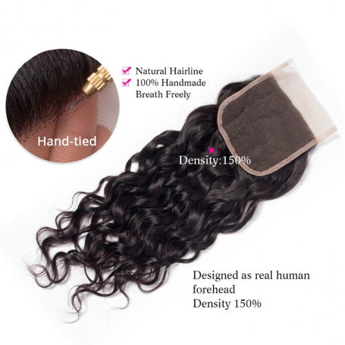 QueenWeaveHair Water Wave Human Hair Lace Frontal Closure Ear To Ear
