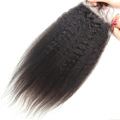 QueenWeaveHair Natural Hairstyle Human Hair Kinky Straight Lace Closure With Baby Hair