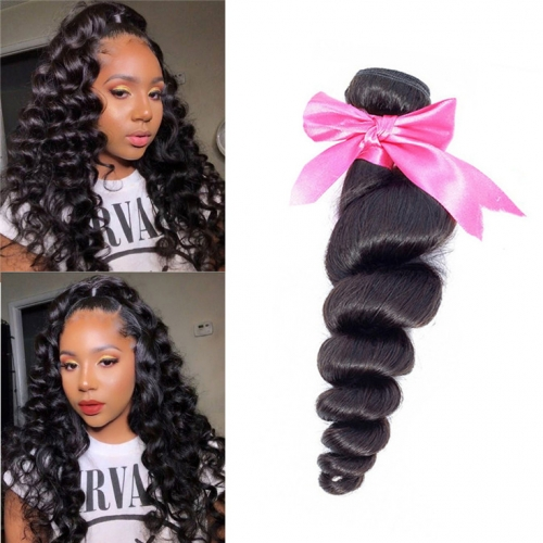 QueenWeaveHair 1 Bundle Natural Color Loose Wave Weave Human Hair Bundles