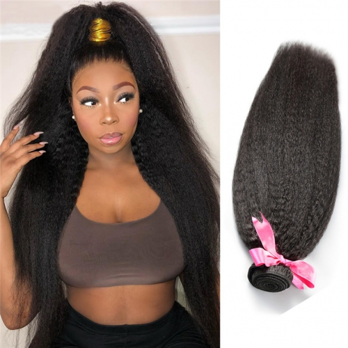 QueenWeaveHair 1 Bundle Of Hair Kinky Straight Human Hair Weave