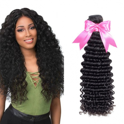 QueenWeaveHair 1 Bundle Of Hair Extensions Deep Wave Human Hair Weave