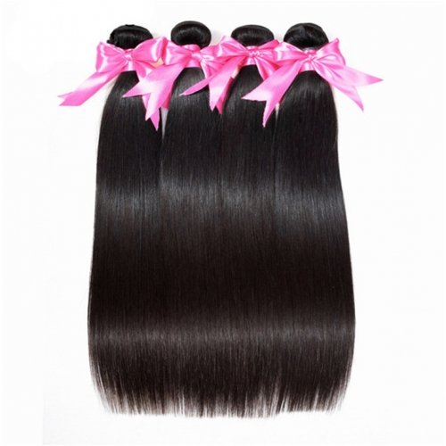 QueenWeaveHair 4 Bundles Human Hair Natural Black Color Human Hair Bundles