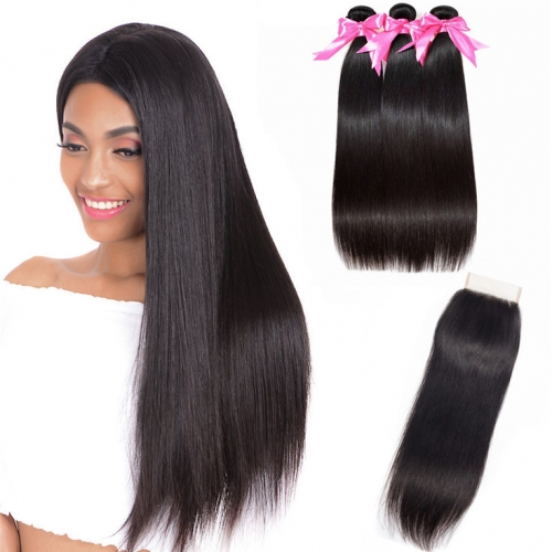 QueenWeaveHair 3 Bundles With Closure Straight Human Hair Bundles