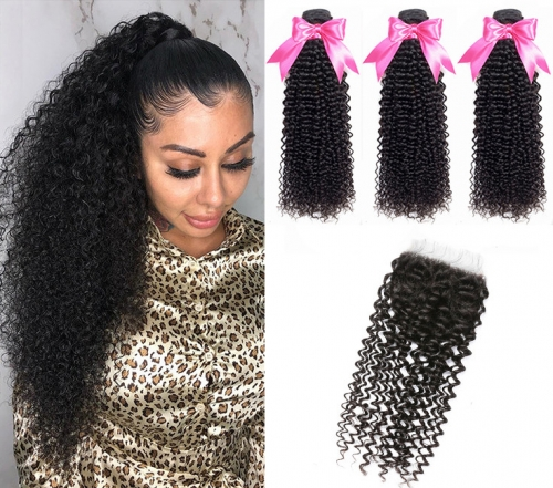 QueenWeaveHair 3 Bundles Afro Kinky Curly Hair Weave With Lace Closure