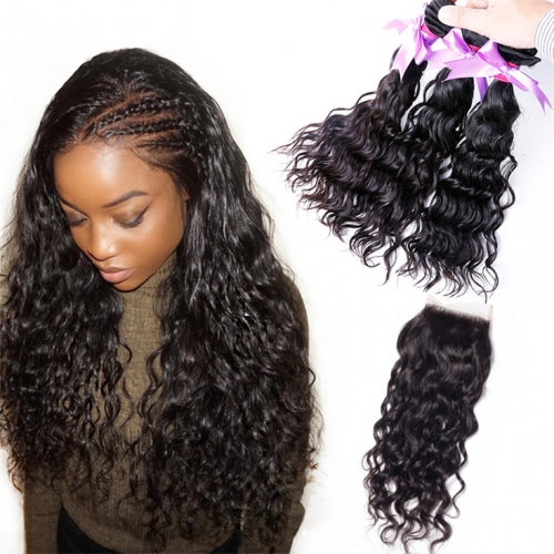QueenWeaveHair 3 Bundles Water Wave Hair Bundles With Closure