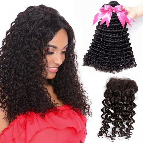 QueenWeaveHair Natural Curly 3 Bundles Deep Wave Bundles With Closure