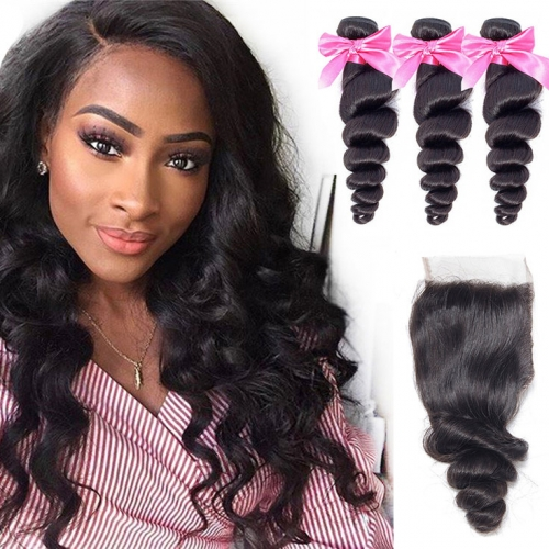 QueenWeaveHair 3 Bundles Loose Wave Bundles With Closure For Black Women