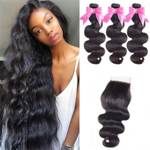 QueenWeaveHair Body Wave 3 Bundles Human Hair Bundles With Closure
