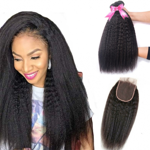 QueenWeaveHair 3 Bundles Kinky Straight Human Hair Bundles And A Closure