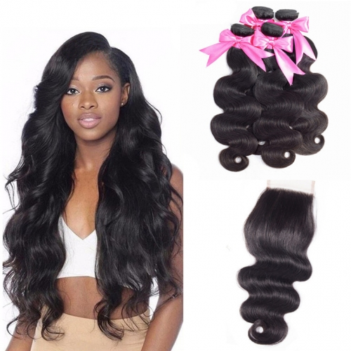 QueenWeaveHair 4 Bundles Body Wave Human Hair Weave With Lace Closure
