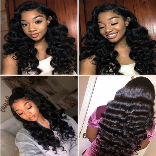 QueenWeaveHair 4 Bundles Loose Curls Long Hair With Lace Closure