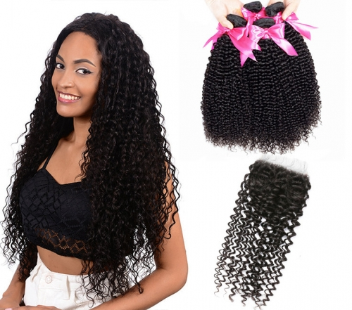 QueenWeaveHair 4 Bundles Short Afro Kinky Curly Human Hair Bundles With Closure