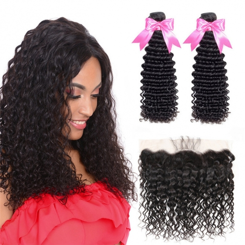 QueenWeaveHair 2 Bundles Deep Curly Unprocessed Human Hair Bundles With Frontal