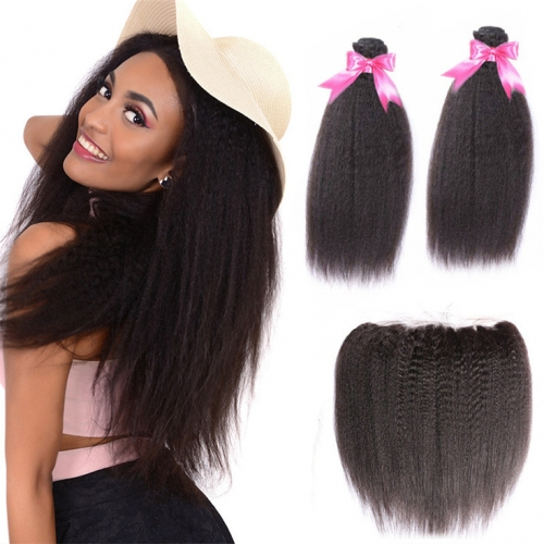 QueenWeaveHair 2 Bundles Best Kinky Straight Hair Extensions With Frontal