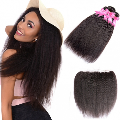 QueenWeaveHair 3 Bundles Yaki Virgin Kinky Straight Hair Bundles And Lace Frontal With Baby Hair
