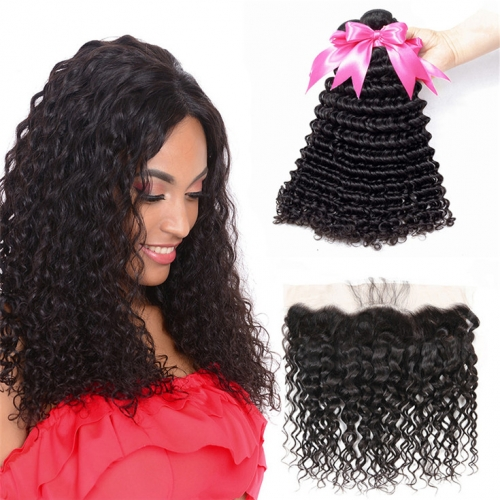 QueenWeaveHair 4 Bundles Deep Wave Hair With Frontal Hairstyles