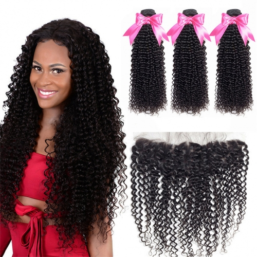 QueenWeaveHair 3 Bundles Brazilian Afro Kinky Curly Weave Bundles With Frontal