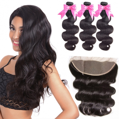 QueenWeaveHair Brazilian Body Wave 3 Bundles With Frontal Cheap