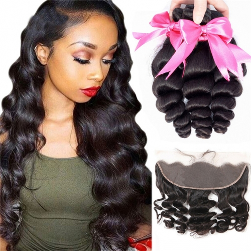 QueenWeaveHair 3 Bundles Loose Wave Wholesale Human Hair Bundles With Frontal
